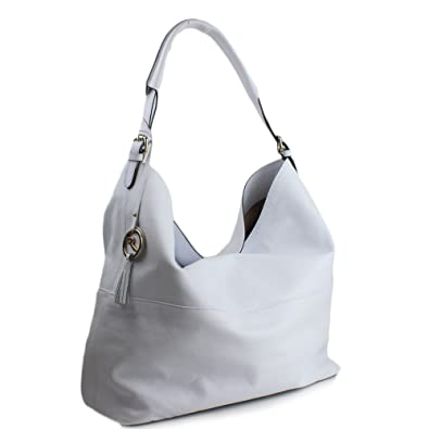 Amazon.com: Varriale Italy Large Leather White Hobo Shoulder Bag ...