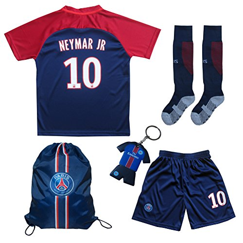 Jersey Kit (2017/2018 PSG Paris Saint Germain Home #10 NEYMAR JR. Football Futbol Soccer Kids Jersey Shorts Socks Set Youth Sizes (7-8 YEARS))
