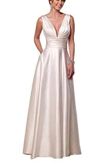 e8b22307ea6 YinWen Women s Double V-Neck Satin Sleeveless Long Wedding Bridal Gown Size  2 US Ivory