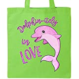 Inktastic - Dolphin-itely in Love- cute pink dolphin Tote Bag Lime Green 2e651