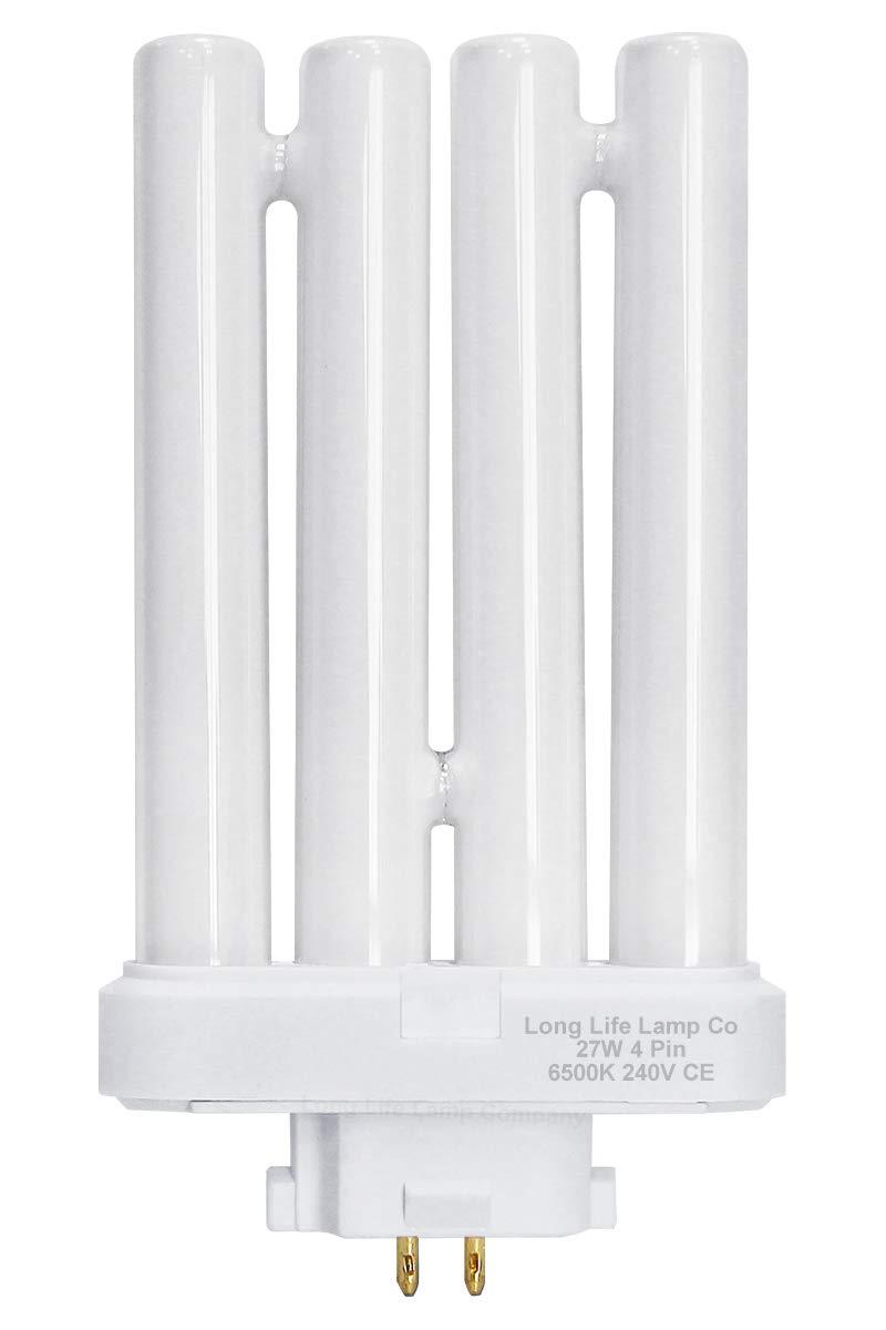 2 x 27w PLS Daylight Bulbs for High Vision Reading Lamps 4pin FML T4 GX10Q-4 Quad Tube [Energy Class A]