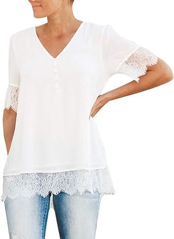 Costura Color de ContrasteTops de Mujer Ronamick Encaje Sexy Camisetas Fitness Mujer Blusa Pirata Mujer Encaje Sexy Camisa Mujer Manga Larga(Blanco,M): Amazon.es: Iluminación