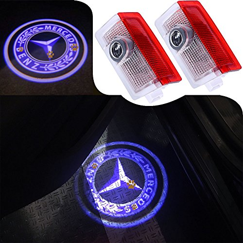 JKCOVER For Upgraded Mercedes Benz, 2 Pcs Car Door LED Welcome Light with DIY 3d Light of Ghost Shadow (Door Mercedes Check Benz)