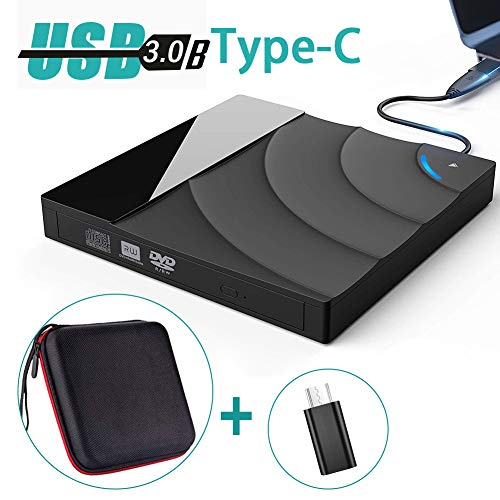 VIVI SKY USB 3.0 External DVD CD Drive with Shockproof Carrying Case,Type-C Touch Control Optical Drives Disk CD/DVD Player Rewriter Burner Compatible with PC Laptop MacBook Windows/Vista/Linux