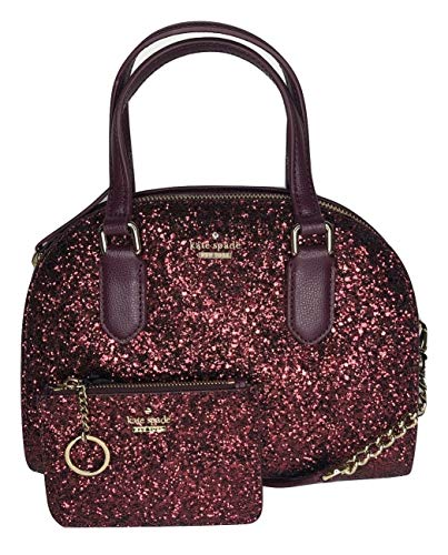 - Kate Spade New York Laurel Way Glitter Mini Reiley WKRU5628 bundled with matching Bitsy Card Wallet WLRU5177 (Deep Plum)