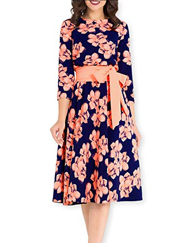 AOOKSMERY Women's Elegant Floral Print 3/4 Sleeve Pleated Dress Casual Swing Midi Maxi Dresses with Belt (Pink Short, Small)