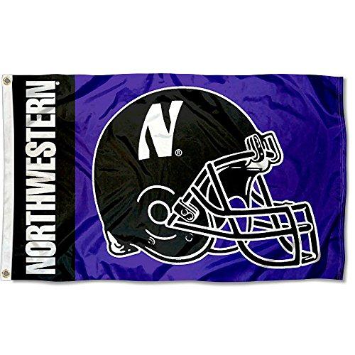 Northwestern University Football Wildcats - College Flags and Banners Co. Northwestern University Football Helmet Flag