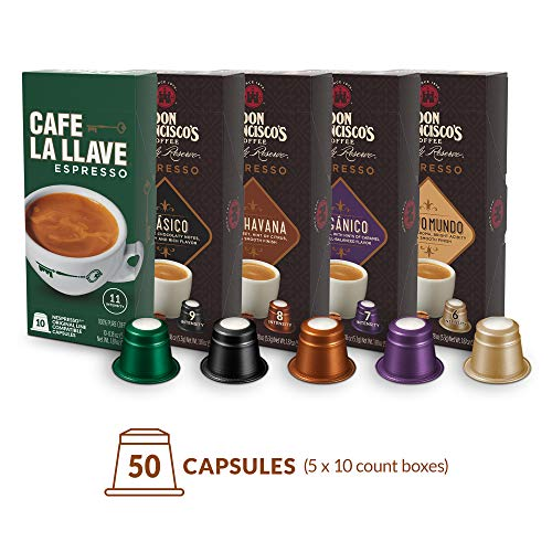 - Don Francisco's and Café La llave Espresso Capsules Variety Pack 10 Each (50 Pods) Compatible with Nespresso Original Brewers Single Cup Coffee Pods