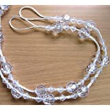 2 X WHITE CLEAR BEADED CURTAIN TIE BACKS TIEBACKS