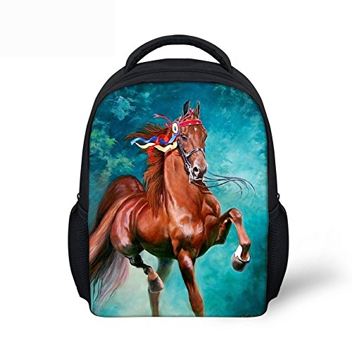 DOGINTHEHOLE Long Tail Horse Children School Backpack for Toddler