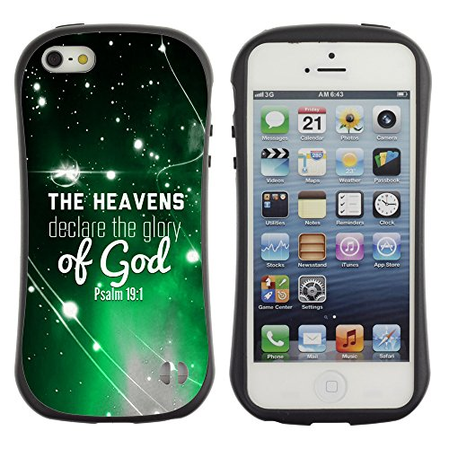 DREAMCASE Citation de Bible Silicone et Rigide Coque Protection Image Etui solide Housse T¨¦l¨¦phone Case Pour APPLE IPHONE 5 / 5S - THE HEAVENS DECLARE THE GLORY OF GOD - PSALM 19:1