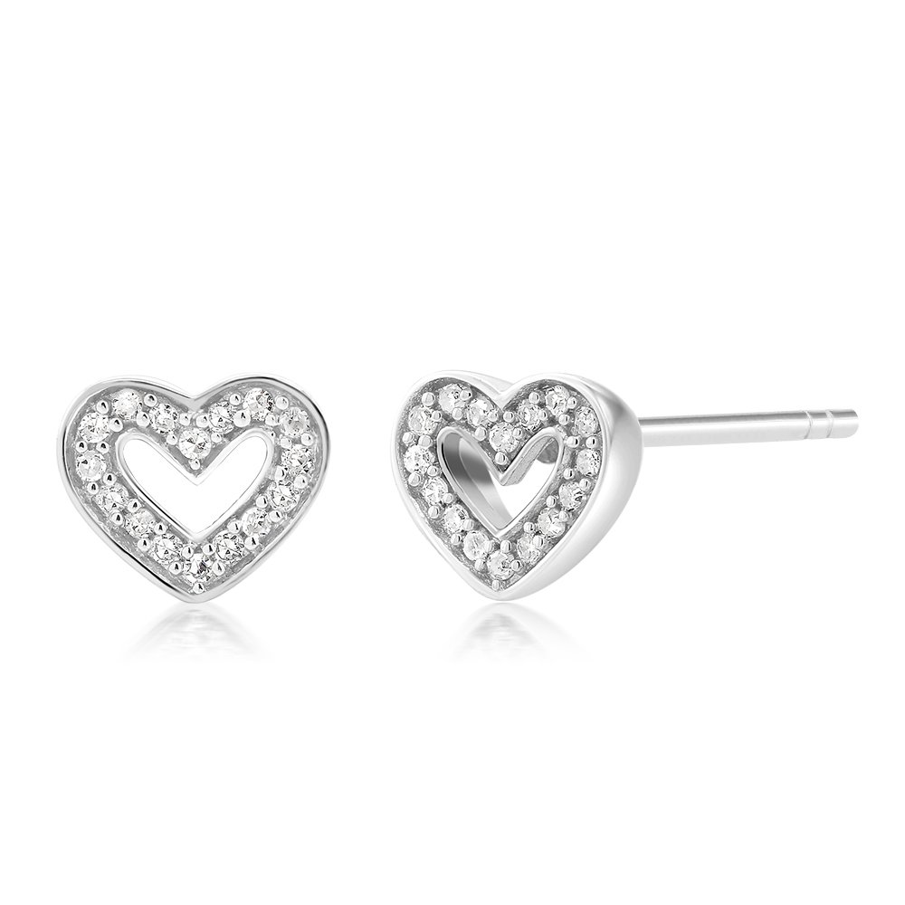 10K White Gold Single Cut White Diamond Women's Heart Shape Stud Earrings (0.048 cttw, I-J Color, I1-I2 Clarity)