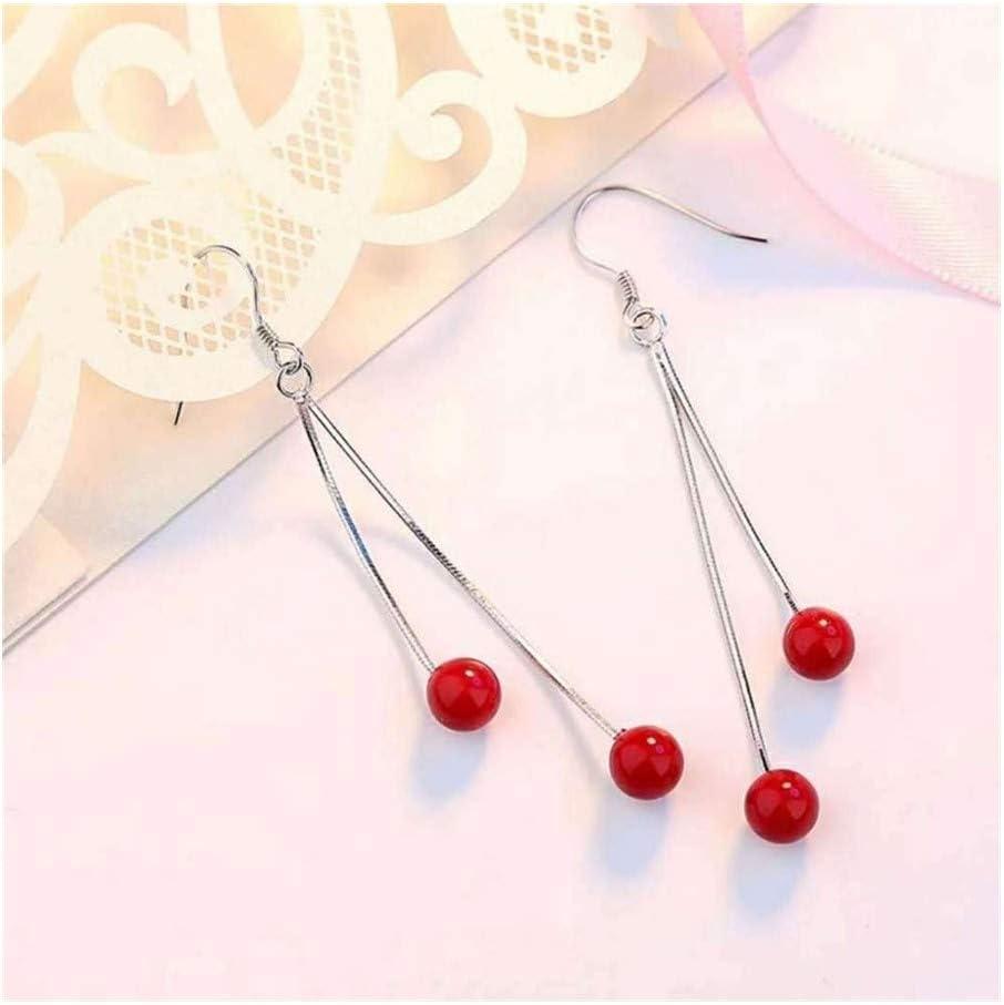 WSNM Pendientes de Perlas de Plata 925 Color de la Borla de Las Mujeres cuelga de Largo Declaración de Piedras Preciosas Rojo Granate Topaz Pendiente Diamond Drop