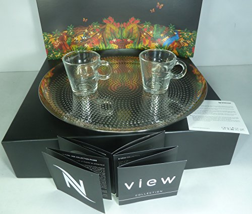 NESPRESSO SET 2 VIEW ESPRESSO CUPS & 1 HAMMERED TRAY STAINLESS STEEL18/10, LIMITED EDITION KIT, NEW by Nespresso