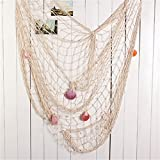 Beyonder Mediterranean Style Nautical Fish Net with Shells Wall Photographing Decoration Decorative Nautical Style Fishing Net Rope Starfish Floats Wall Decor for Home,Kitchen 79 x 59inch
