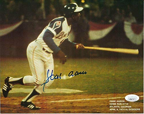 Hank Aaron Signed Photograph - 8x10 Color 142333 - JSA Certified - Autographed MLB Photos