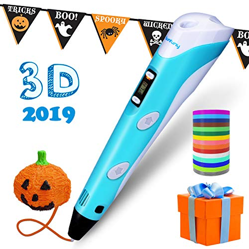 Sunfuny 3D Pen, 3D Printing Doodler Pen with LCD Screen and 150 Feet 15 Color 1.75mm PLA Filament Refill, Halloween Gift 3D Drawing Printer Pen for Kids Adult Artist, Stepless Speed, Blue