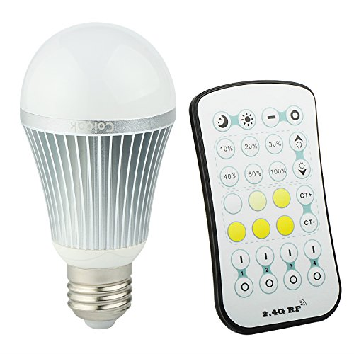 Coidak 9W E26 Dimmable LED Light Bulb, Warm - Cool White Color Temperature Adjustable, with 2.4G RF Wireless Remote Controller (Not IR, Can Bypass Obstacles), Incandescent Equivalent 63 Watt, A19 Lamp