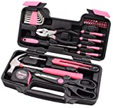 Automotive : Cartman Pink 39-Piece Tool Set - General Household Hand Tool Kit with Plastic Toolbox Storage Case