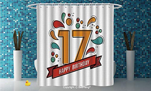 """BeeMeng SimpleDIY Bathroom Curtain Personality Privacy Convenience,17th Birthday Decorations,Digital Pop Art Print Seventeen Party with Floral Details Image,Multicolor,94"""" W x 72"""" H"""
