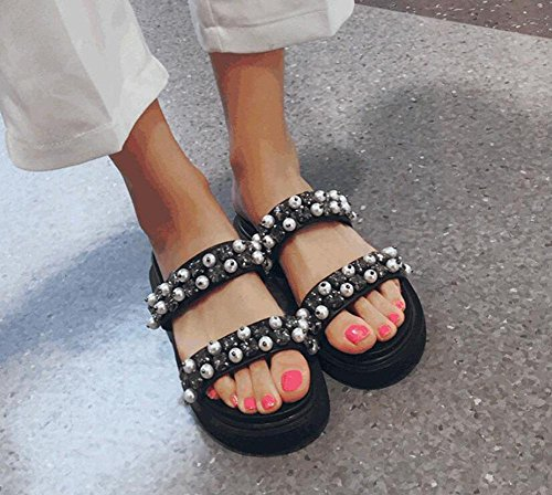 Word GLTER Leather Women Female Back Sandals Open Slip Black Pearl Shoes Rivet Flop Rhinestone Flat Slippers Black Flip On Slippers qgYCqx