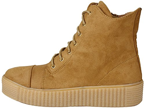 de Zapatillas Teresa con terciopelo goma imitación cordones ante y para mujer Tan Shoes plataforma la gruesa de sneaker con mujer Para JJF moda 33 a qtxz5n