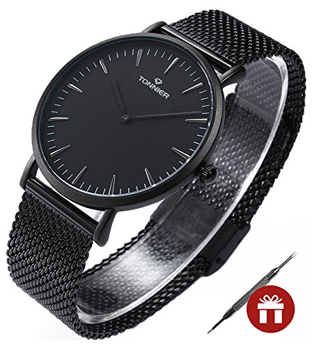 Tonnier Black Stainless Steel Slim Men Watch Quartz Watch