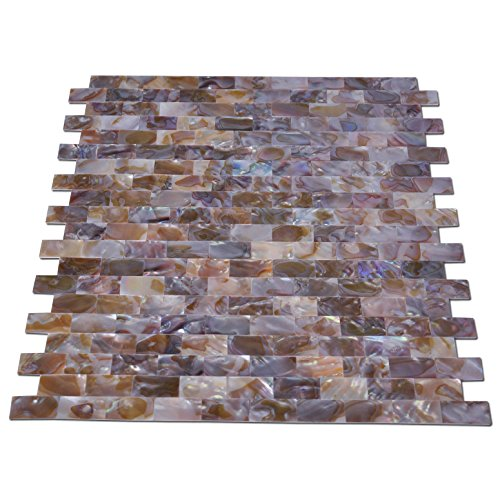 Art3d Natural Mother of Pearl Oyster Mini Brick Shell Mosaic Tile for Kitchen Backsplashes 10 Sq Ft Pack of 10 by Art3d (Image #4)