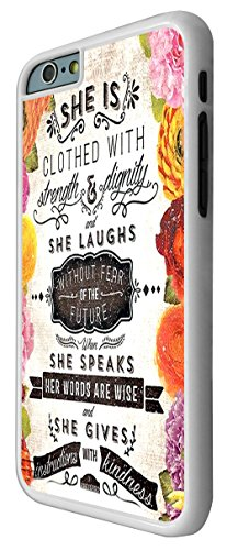 215 - Floral Shabby Chic Christian Quote She Is Clothed In Strength And Dignity And She Laughs Without Fear Design iphone 6 Plus / iphone 6 Plus 5.5'' Coque Fashion Trend Case Coque Protection Cover p