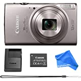 Canon PowerShot ELPH 360 Digital Camera w/ 12x Optical Zoom and Image Stabilization - Wi-Fi & NFC Enabled (Silver) + DigitalAndMore Cleaning Cloth