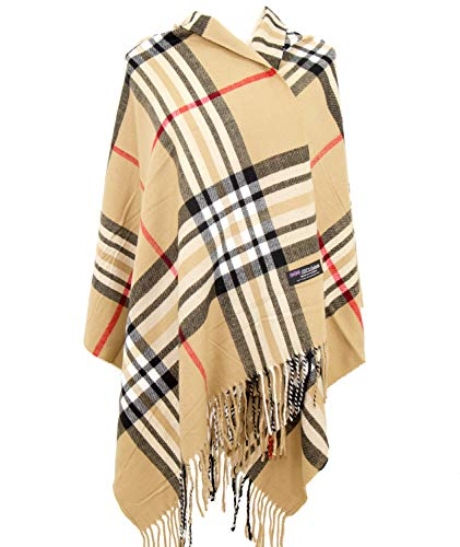 2PLY 100% Cashmere Blanket Oversized Scarf OS Tartan Nova Check Scotland Wool Plaid (Beige Camel Nova Tartan Check Plaid) ()
