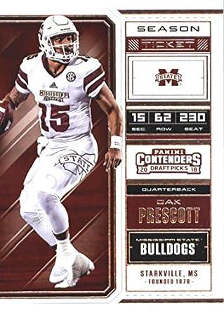 66f1492de 2018 Panini Contenders Draft Picks Season Ticket  24 Dak Prescott  Mississippi State Bulldogs Football Card