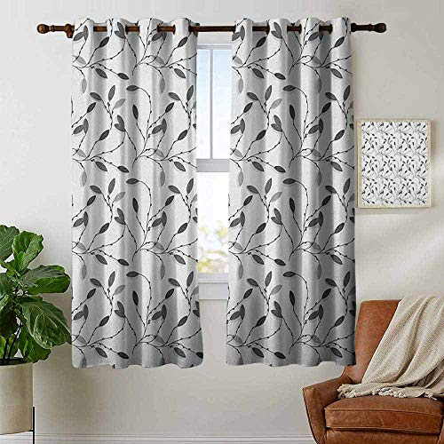 Decor Curtains by Grey,Contemporary Graphic of Fall Autumn Leaves and Branches Simple Pure Shabby Artwork, Gray White,Wide Blackout Curtains, Keep Warm Draperies,1 Pair 42