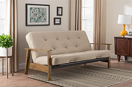 Wood Arm Futon (DHP Bergen Wood Arm Futon with 6-inch Coil Mattress, Mid Century Design, Converts to Full Size Bed, Tan Linen)