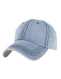 Opromo Low Profile Unstructured Denim Washed Dad Cap Adjustable Baseball Cap Hat