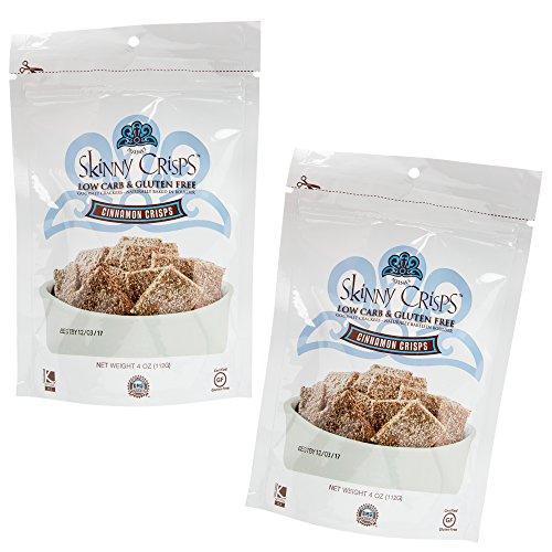 Skinny Crisps Cinnamon Crisps Low Carb Gluten Free Gourmet Crackers 4 Oz Bag (Pack of 2)
