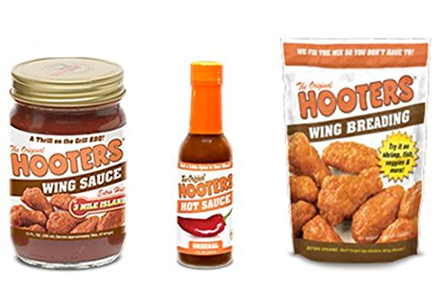 Hooters Variety Pack: (1) Hot Sauce 5 oz, (1) 3 Mile Island Wing Sauce 12 oz, (1) Wing Breading 16 oz (Pack of 3)