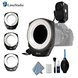 LimoStudio 48 Macro LED Ring Photo Video Light Bundle Kit with Adapter Ring, Continuous Lighting, Camera Lens Filter Clean Kit, Cleaning Cloth, Brush, Liquid Agent, Air Blower, Photo Studio, AGG2042