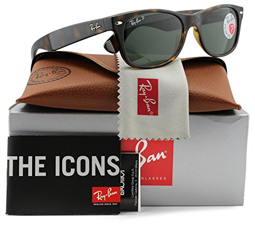 Ray-Ban RB2132 Large New Wayfarer Polarized Sunglasses Shiny Havana w/Crystal Green (902/58) 2132 90258 55mm - 902 Rb2132 58