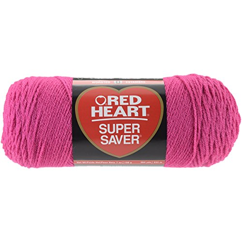 RED Heart Super Saver Yarn, Shocking Pink (Weight Worsted Pink Yarn)