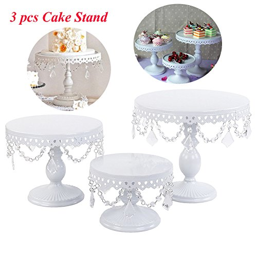 ake Stand White Cupake Stand Dessert Holders Antique Cake Stands with Crystal Beads and Dangles (3 Set/Crystal) ()