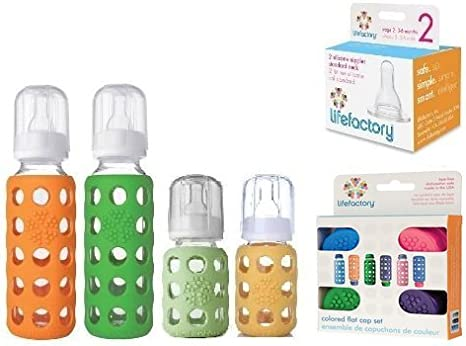 Lifefactory – Biberones de cristal 4 Pack Starter Kit (9 oz. & 4 ...