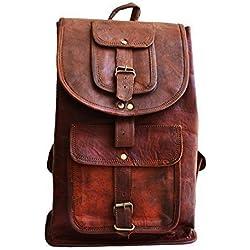 "16"" men's womens unisex Genuine leather vintage unique laptop backpack laptop bag for laptop upto 15"" picnic travel school backpack"