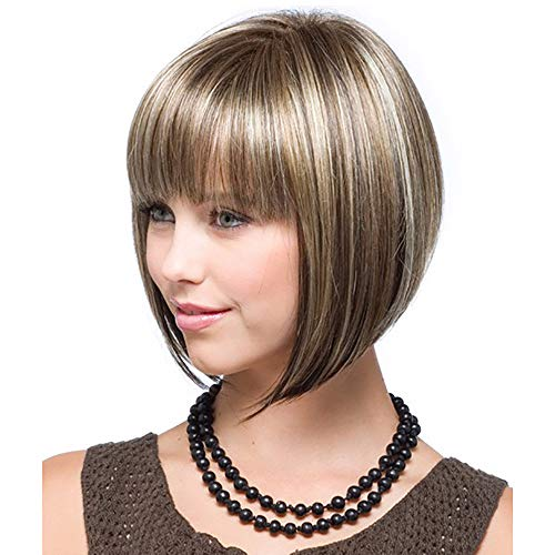 (☀ Free-Rb Wigs 32Cm Girl Natural Gold Party Wig Short Full Straight Hair Fashion Synthetic Wig Lady Wig Before The Bangs)