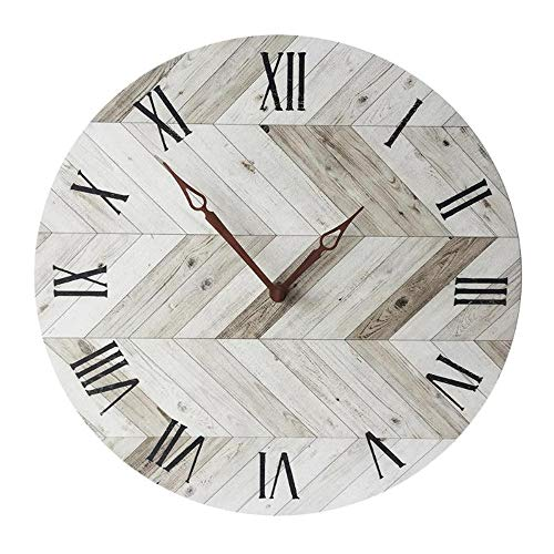 (llsmting Wall Clock 28Cm Retro Wood Grain Round Acrylic Marble Simple Digital Watch Home Decoration Modern Style Good for Home Kitchen Living Room Bedroom)