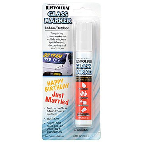 Rust-Oleum 267963 Soap and Water Washable Leaving no Residue Glass Marker, White,]()