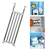 Baoyouni Tension Closet Organizer Shelf Adjustable Storage Rack Heavy Duty Clothes Hanger Rod Metal Space Saver for Bathroom Kitchen Cupboard Wardrobe Bookshelf, 32''-46'', Ivory