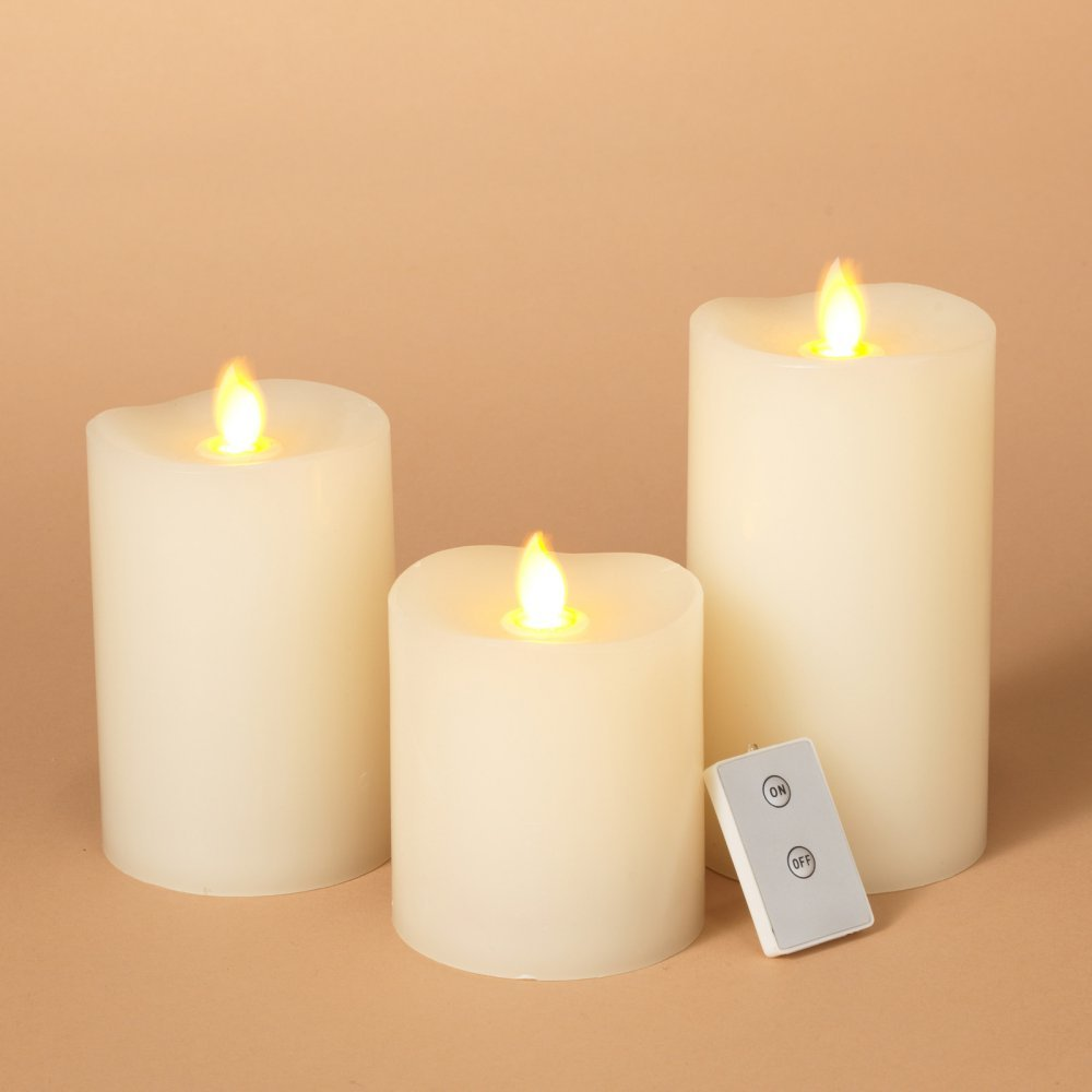 The Gerson Company 2300740EC Set of 3 Motion Flame 360 Wax LED Candles with Remote & Vanilla Scent