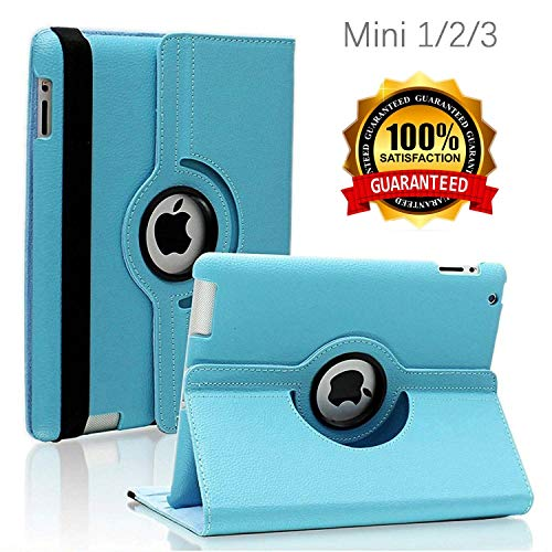 iPad Mini 1/2/3 Case - 360 Degree Rotating Stand Smart Cover Case with Auto Sleep/Wake Feature for Apple iPad Mini 1 / iPad Mini 2 / iPad Mini 3 (Sky Blue) ... (Apple Ipad Mini2 Smart Case)