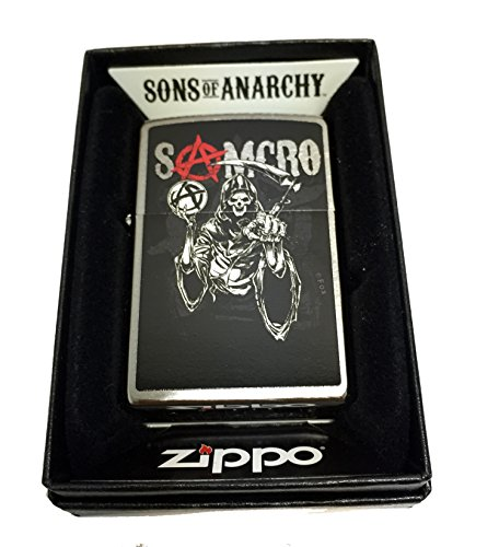 Zippo Custom Lighter - Samcro Sons of Anarchy with Pointing Reaper - Regular Brushed Chrome Zippo Chrome Ring
